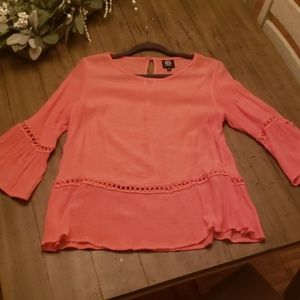 Sheer Salmon pink blouse size L